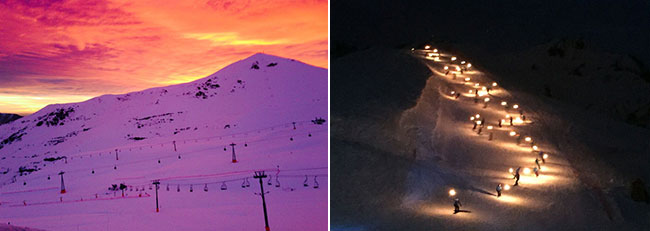Spectacular sunsets and the torchlight ski parade